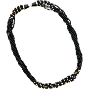 """Vintage 14k Gold LONG Twisted Onyx and Gold Bead Necklace ~ 30 1/4"""""""