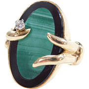 Unique 14k Gold Onyx, Malachite and Diamond Ring
