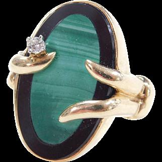 Unique 14k Gold Onyx, Malachite and Diamond Ring