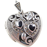 Sterling Silver Onyx and Marcasite Heart Locket Pendant