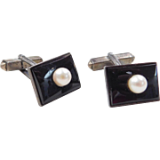 Silver Onyx and Cultured Pearl Cufflinks
