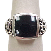 Vintage Sterling Silver Onyx Oxidized Bead Setting Ring
