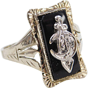 Art Deco 14k White Gold Onyx and Diamond Shriners Ring
