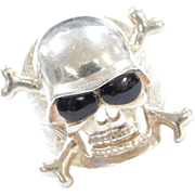 Sterling Silver BIG Onyx Skull Ring
