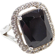 Sterling Silver Black and White Ring ~ Onyx and White Spinel