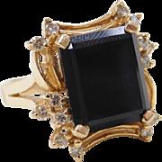 Vintage 14k Gold Onyx and Diamond Ring