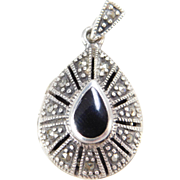 Sterling Silver Onyx and Marcasite Locket Pendant