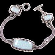 """Sterling Silver Opal Oxidized Bracelet ~ 7 1/2"""" ~ Heart Details"""