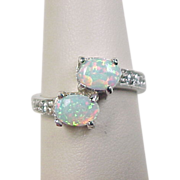 Vintage Sterling Silver Opal and Faux Diamond By-Pass Ring