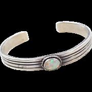 Native American Sterling Silver Opal Cuff Bracelet