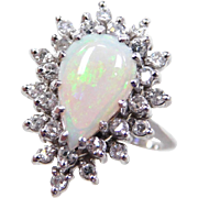 Vintage 14k White Gold 1.50 ctw Opal and Diamond Ring