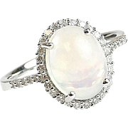 Beautiful 14k White Gold 2.16 ctw Jelly Opal and Diamond Halo Engagement Ring