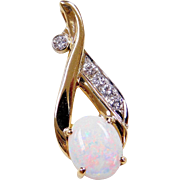 Vintage 14k Gold Two-Tone 1.46 ctw Opal and Diamond Pendant