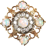 Edwardian 14k Gold 2.41 ctw Opal and Diamond Pin / Brooch