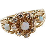 Vintage 14k Gold Opal and Diamond Ring