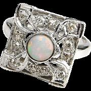 Stunning Art Deco 14k White Gold Opal and Diamond Ring