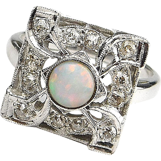 Stunning Art Deco 14k White Gold Opal and Diamond Ring