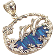 Vintage 14k Gold Created Opal Dolphin Pendant