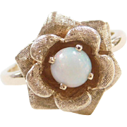 Vintage 10k Gold Opal Flower Ring