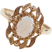 Vintage 10k Gold Ornate Opal Ring