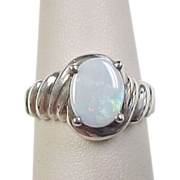 Vintage Sterling Silver Opal Ring