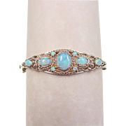 Vintage 14k Gold Opal Hinged Bangle Bracelet
