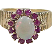 Vintage 18k Gold Opal and Ruby Ring
