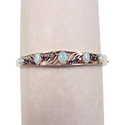 Vintage 14k Gold Opal and Sapphire Hinged Bangle Bracelet