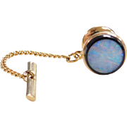Vintage 14k Gold Opal Tie Tack with Chain