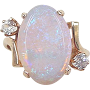 Vintage 14k Gold 2.99 Carat Opal and Topaz Ring