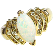 Vintage 14k Gold 1.30 ctw Opal Marquise and Diamond Ring