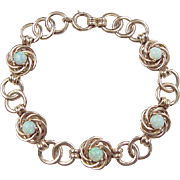 "Vintage 14k Gold Opal Bracelet 7 5/8"" Circa 1960's"