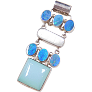 Sterling Silver Opal, Mother of Pearl and Caribbean Blue Chalcedony Pendant