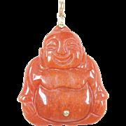Vintage 14k Gold Orange Jade Carved Buddha Pendant