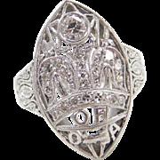 Art Deco Platinum Past Royal Matron Order of the Amaranth .13 ctw Diamond Ring