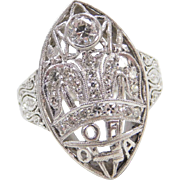 Art Deco Platinum Past Royal Matron Order of the Amaranth .13 ctw Diamond Ring