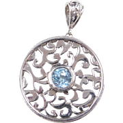 Sterling Silver Ornate Blue Topaz Round Circle Pendant
