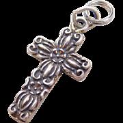 Sterling Silver Ornate Cross Charm / Pendant