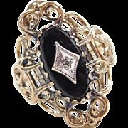 Vintage 10k Gold Ornate Onyx and Diamond Ring