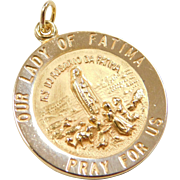 Vintage 14k Gold Our Lady of Fatima Charm / Medallion