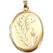 Vintage 14k Gold Oval Etched Locket Pendant