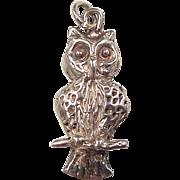 Vintage 14k White Gold Owl Charm