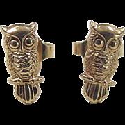Vintage 14k Gold Owl Stud Earrings