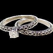 Vintage 14k White Gold Oxidized .18 ct Diamond Engagement Ring and Wedding Band Matching Set