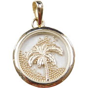 Vintage 14k Gold Palm Tree Charm with Moving Beads