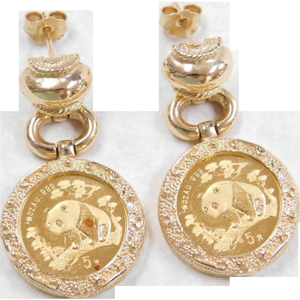 vintage 14k amp fine 24k gold panda coin earrings from