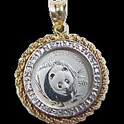 Platinum Panda Coin Pendant in 14k Gold Diamond Bezel