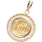 Vintage 14k & Fine 24k Gold Panda Coin Pendant