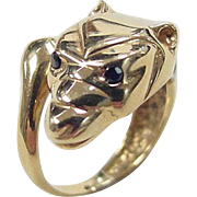 Vintage 14k Gold Two-Tone Panther / Jaguar Ring With Sapphires Eyes