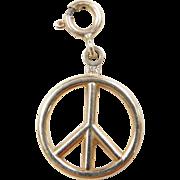 Vintage 14k Gold Peace Sign Charm